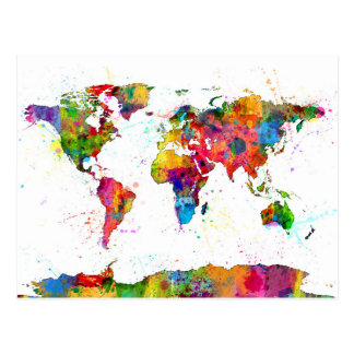 Map of the World Map Watercolor Postcard