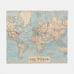 World map blankets bed blankets zazzle map of the world on mercators projection fleece blanket gumiabroncs Image collections