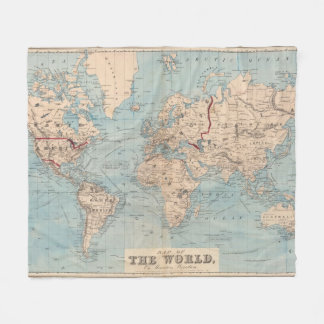 Map of the world on Mercator's projection Fleece Blanket