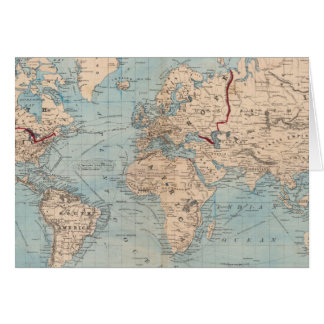 Map of the world on Mercator's projection Greeting Card