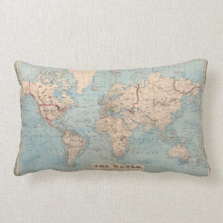 Map of the world on Mercator's projection Lumbar Cushion