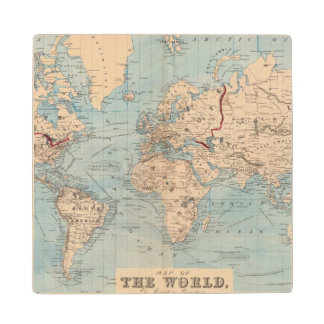 Map of the world on Mercator's projection Wood Coaster