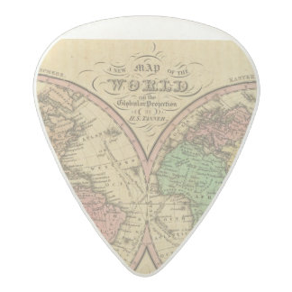 Map Of The World on the Globular Projection 2 Acetal Guitar Pick