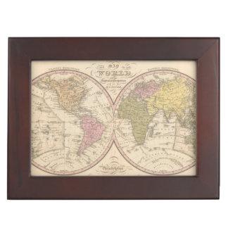 Map Of The World on the Globular Projection 2 Keepsake Box