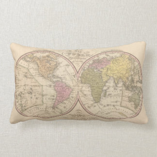 Map Of The World on the Globular Projection 2 Lumbar Cushion