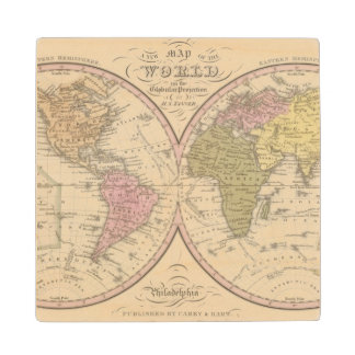 Map Of The World on the Globular Projection 2 Wood Coaster