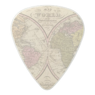 Map Of The World on the Globular Projection Acetal Guitar Pick