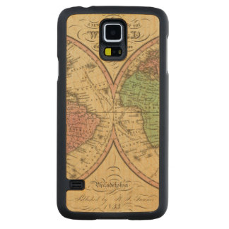 Map Of The World on the Globular Projection Carved Maple Galaxy S5 Case