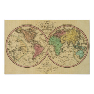 Map Of The World on the Globular Projection Poster