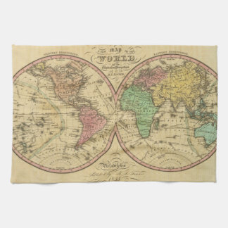 Map Of The World on the Globular Projection Tea Towel