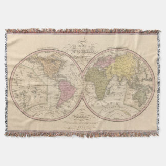 Map Of The World on the Globular Projection Throw Blanket