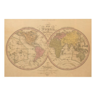 Map Of The World on the Globular Projection Wood Print