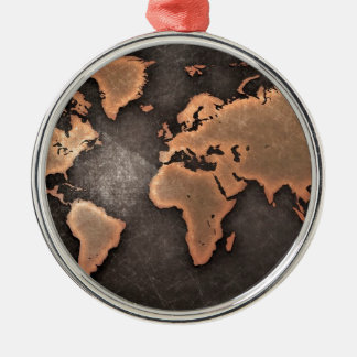 Map of the world Silver-Colored round decoration
