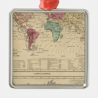 Map of The World Silver-Colored Square Decoration