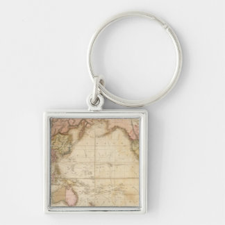 Map of the world Silver-Colored square key ring