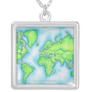 World map necklaces zazzle uk map of the world silver plated necklace gumiabroncs Gallery