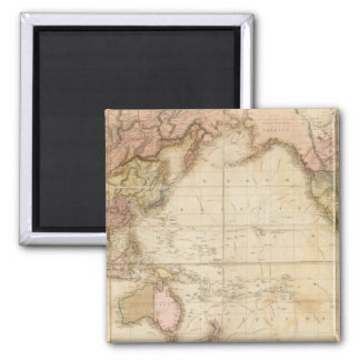 Map of the world square magnet