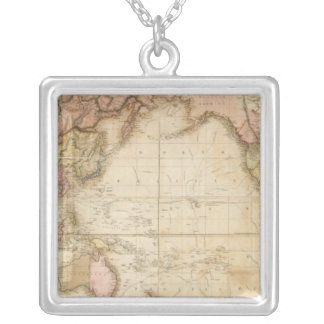 Map of the world square pendant necklace