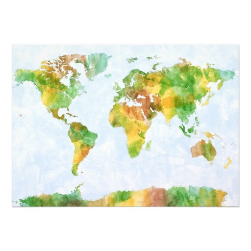 Map of the World Watercolour Personalised Invitations