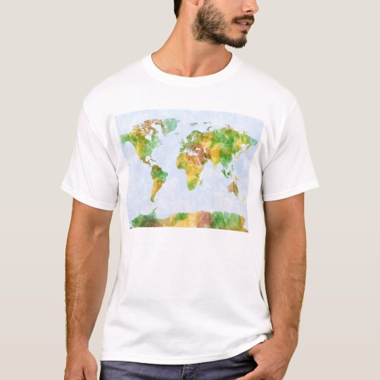 Map of the World Watercolour T-Shirt