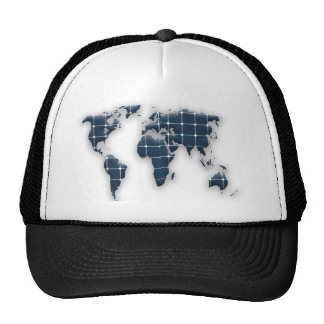 Map of the world with photovoltaic solar panels. cap