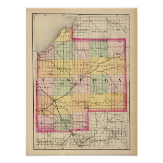 Map of Tuscola County, Michigan Poster