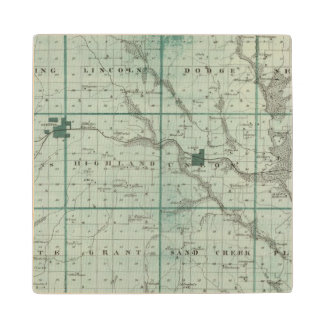 Map of Union County, State of Iowa Maple Wood Coaster