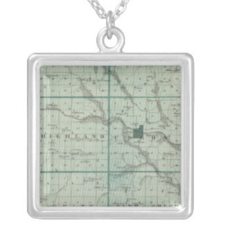 Map of Union County, State of Iowa Silver Plated Necklace