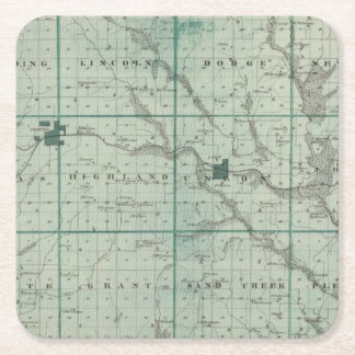 Map of Union County, State of Iowa Square Paper Coaster