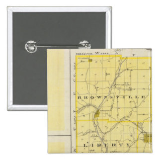 Map of Union County with Brownsville, Liberty 15 Cm Square Badge