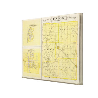 Map of Union County with Brownsville, Liberty Canvas Print