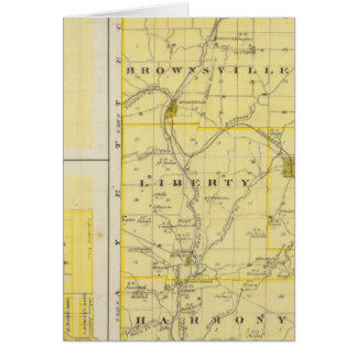 Map of Union County with Brownsville, Liberty Greeting Card