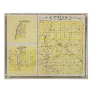 Map of Union County with Brownsville, Liberty Poster