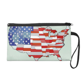 Map of United States of America Wristlet Clutches