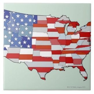 Map of United States of America Large Square Tile