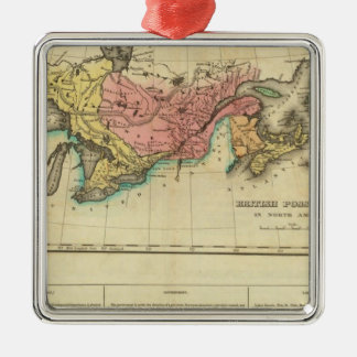 Map Of Upper And Lower Canada Silver-Colored Square Decoration