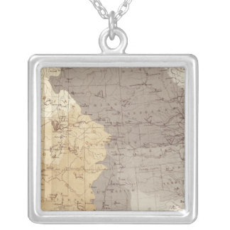 Map of US Drainage Areas Silver Plated Necklace