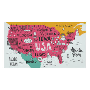 Cute Usa Map.Cute Map Art Wall Decor Zazzle Co Uk
