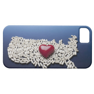 Map of USA made of pills with red heart iPhone 5 Cases