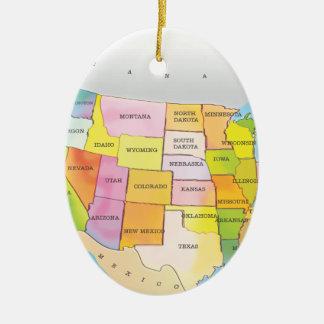 Map of USA States Ceramic Oval Decoration