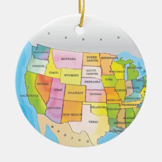 Map of USA States Round Ceramic Decoration