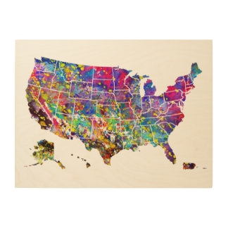 Map of USA Wood Wall Art