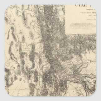 Map of Utah Territory Square Sticker
