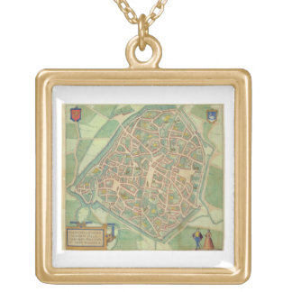 Map of Valencia, from 'Civitates Orbis Terrarum' b Gold Plated Necklace