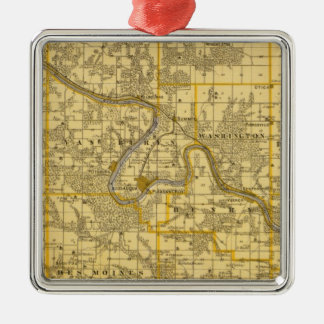 Map of Van Buren County, State of Iowa Christmas Ornament
