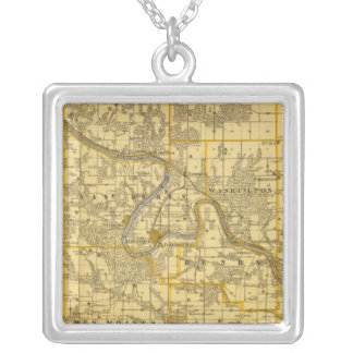 Map of Van Buren County, State of Iowa Silver Plated Necklace
