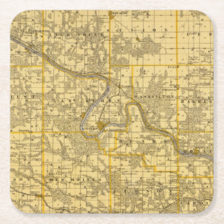 Map of Van Buren County, State of Iowa Square Paper Coaster