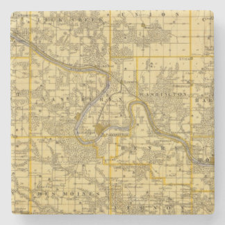 Map of Van Buren County, State of Iowa Stone Coaster
