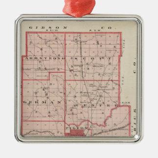 Map of Vanderburgh County Christmas Ornament