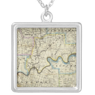Map of Venango County Oil Regions Square Pendant Necklace